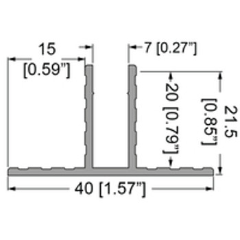 """1/4"""" T-Channel Divider Extrusion - 6 ft."""