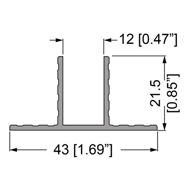 """1/2"""" T-Channel Divider Extrusion - 6 ft."""