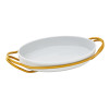 thumbnail image of New Living Hi-Tech Gold / Porcelain Oval porcelain dish set, 15 1/4 x 10 1/2 x 3 inch