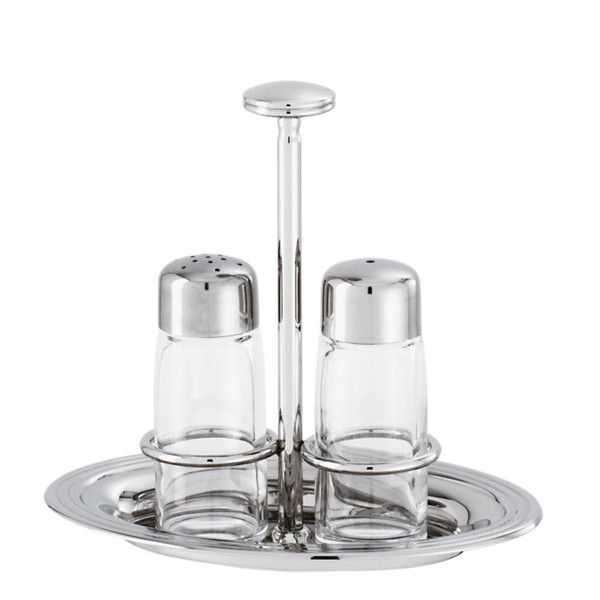 Sambonet Avenue Salt & pepper set with crystal, 6 1/4 x 4 3/8 inch