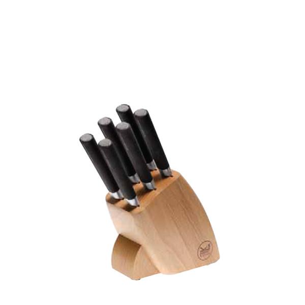 Sambonet Knives Knife Block Set, 6 steak knives, wood