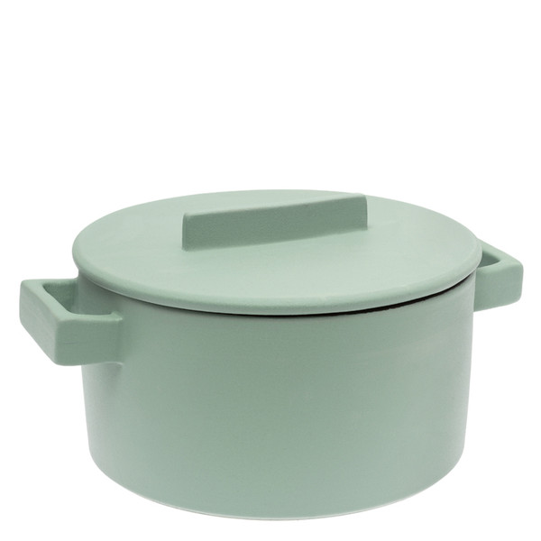 Sambonet Terra Cotto Cylindrical saucepot, 2 handles with lid, Sage
