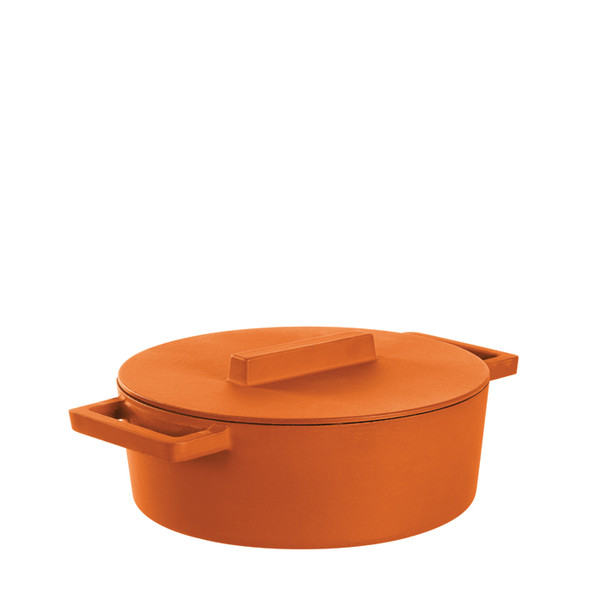 Sambonet Terra Cotto Cast Iron Oval Casserole Pot with Lid, Curry, 11 3/4 x 10 inch, 416 ounce