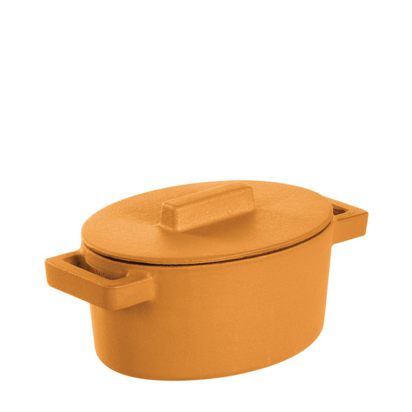 Sambonet Terra Cotto Cast Iron Oval Casserole with Lid, Vanilla, 5 x 4 inch