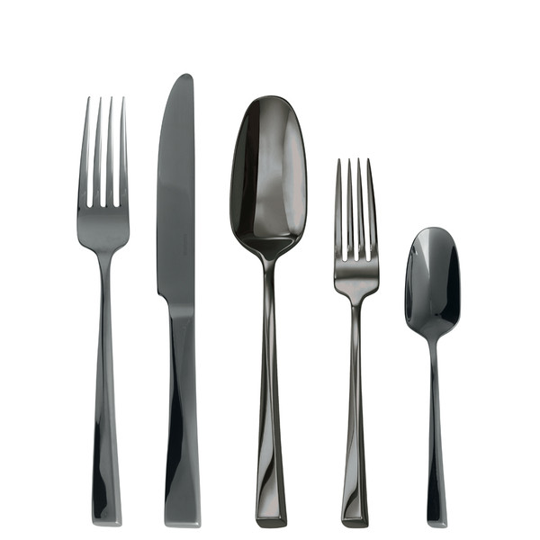 Twist Black 18/10 Stainless Steel 5 pcs Place Setting, solid handle