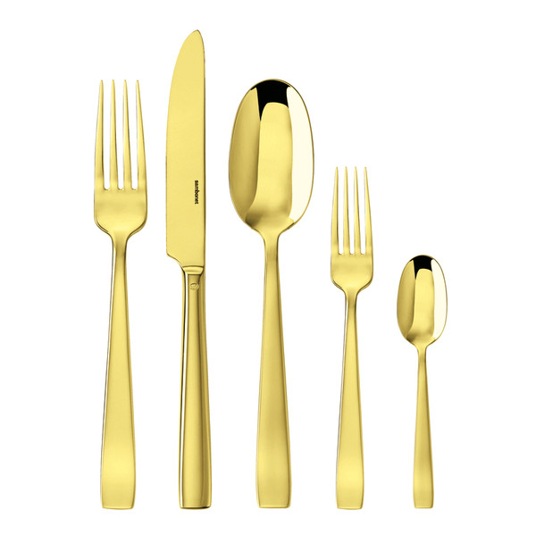 Flat Gold 18/10 Stainless Steel PVD finishing 5 pcs Place Setting, solid handle