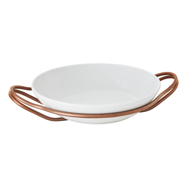 New Living Hi-Tech Copper / Porcelain Round rice dish set, 14 1/4 x 3 1/2 inch