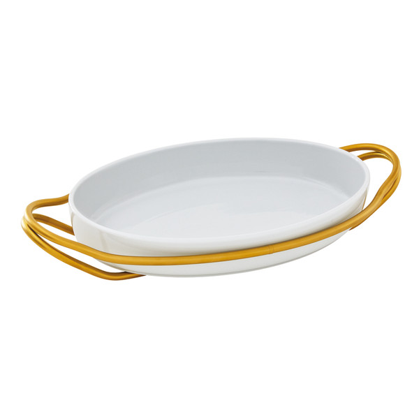 New Living Hi-Tech Gold / Porcelain Oval porcelain dish set, 15 1/4 x 10 1/2 x 3 inch