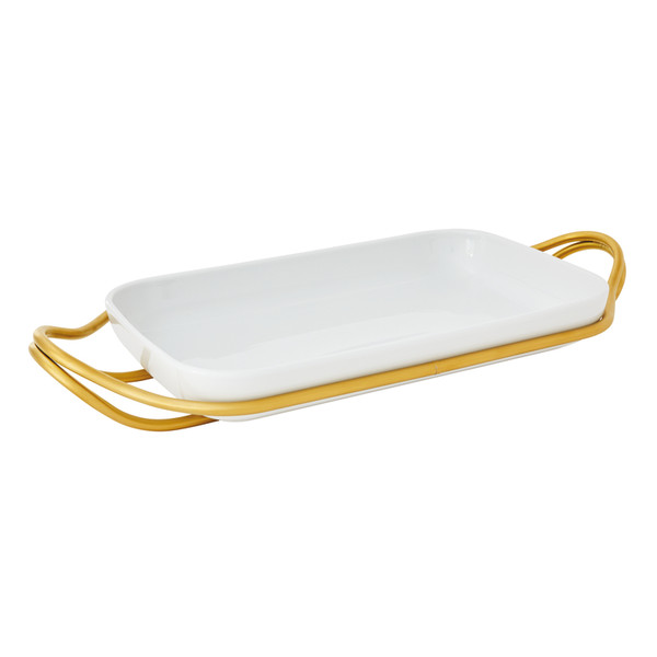 New Living Hi-Tech Gold / Porcelain Rectangular porcelain dish set, 16 x 10 1/2 x 2 3/4 inch