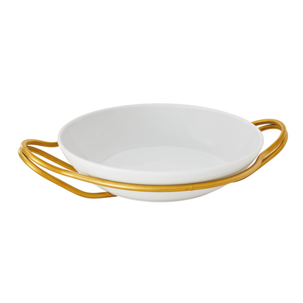 New Living Hi-Tech Gold / Porcelain Round rice dish set, 14 1/4 x 3 1/2 inch