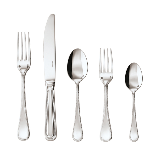 Perles 18/10 Stainless Steel 5 pcs Place Setting, solid handle
