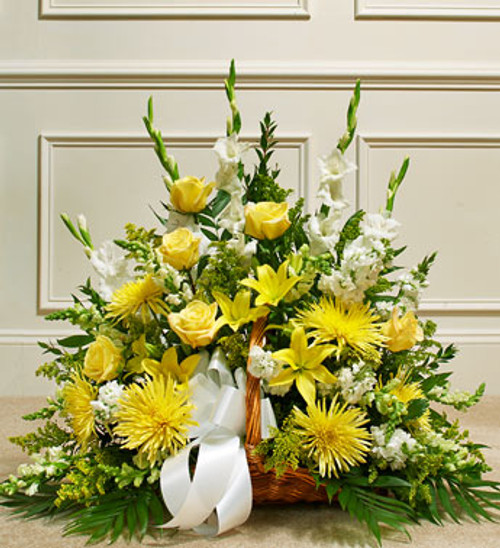 Yellow Thoughts and Prayers Fireside Basket Funeral Flowers