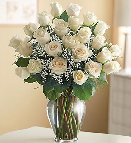 Beautiful White Roses In A Vase