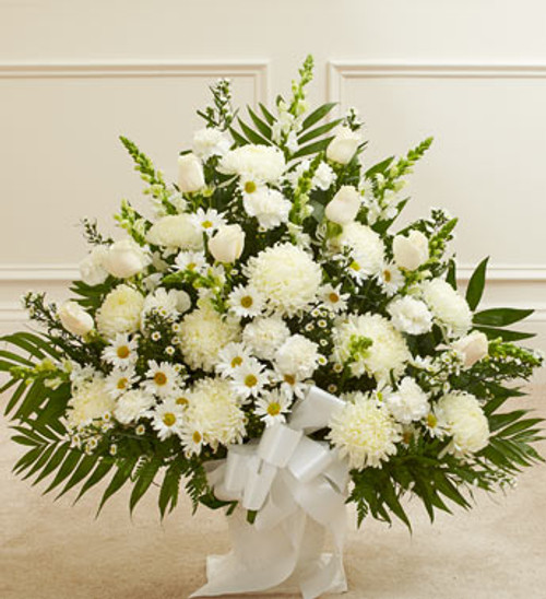 Heartfelt Tribute Floor Basket Arrangement [White]