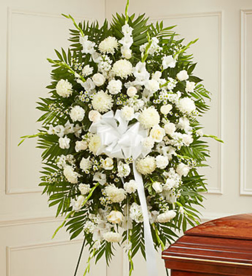 White Deepest Sympathies Standing Spray Funeral Flowers