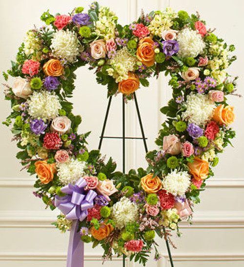 Pastel Always Remember Floral Heart Tribute Funeral Flowers