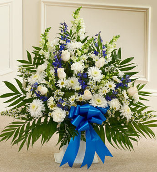 Blue and White Heartfelt Tribute Floor Basket Funeral Flowers