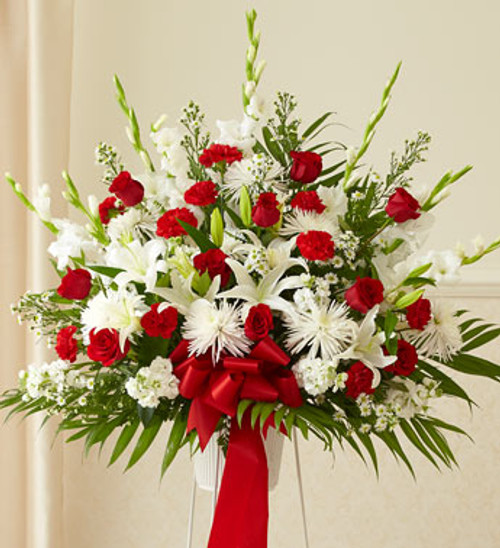 Red and White Heartfelt Sympathies Standing Basket Funeral Flowers