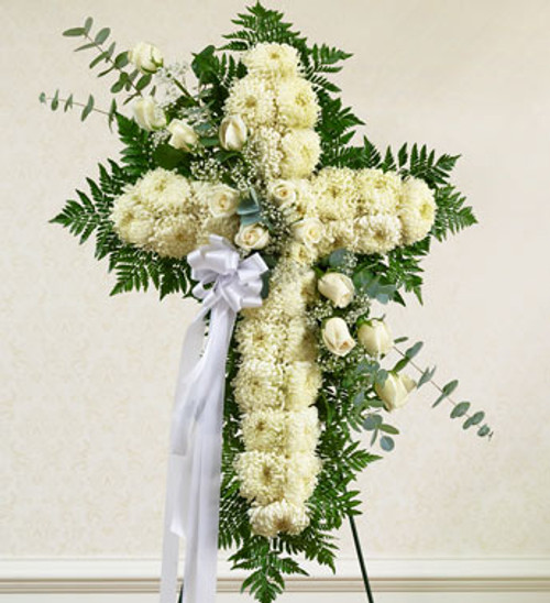 Peace and Prayers Standing White Cross Funeral Flowers