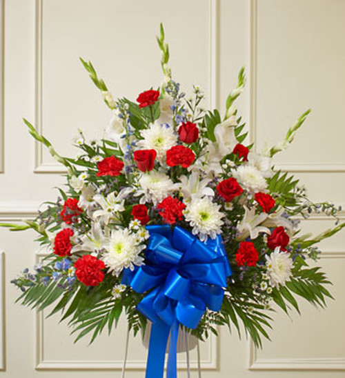 Red White And Blue Sympathy Standing Basket Funeral Arrangement