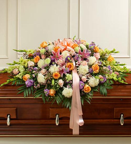 Pastel Mixed Flower Full Casket Cover Arrangement