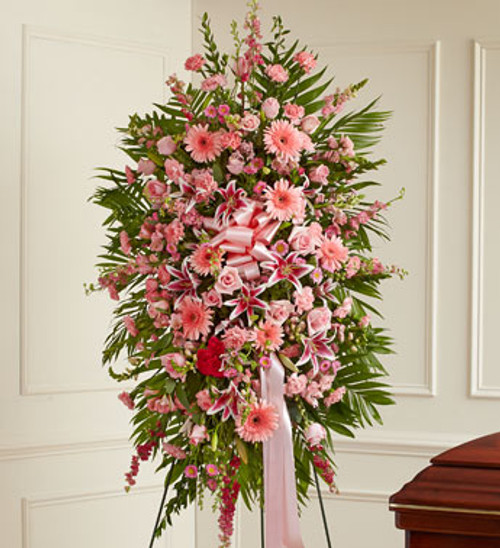 Deepest Sympathies Standing Spray Funeral Flowers