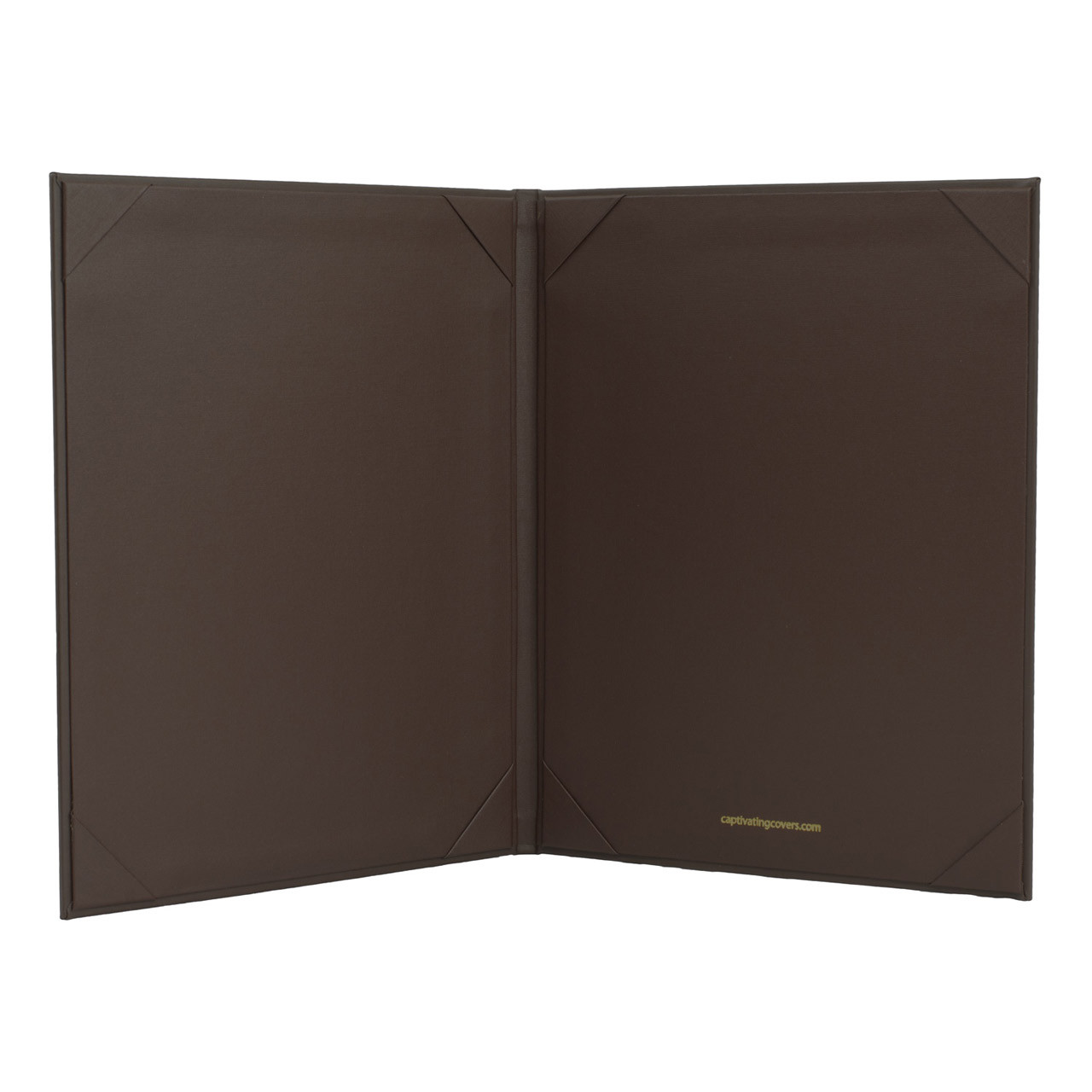 """Menu Cover in Dark Brown Faux Leather  2-Panels for 5.5"""" x 8.5"""" Menu Sheets (inside shown)"""