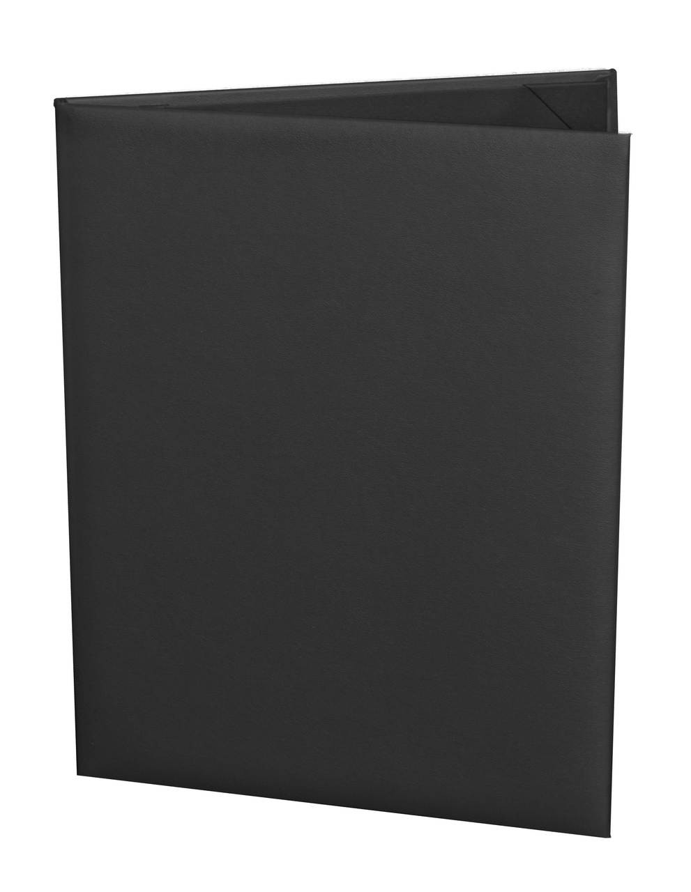 """Menu Cover in Black Faux Leather 2-Panels for 5.5"""" x 8.5"""" Menu Sheets"""
