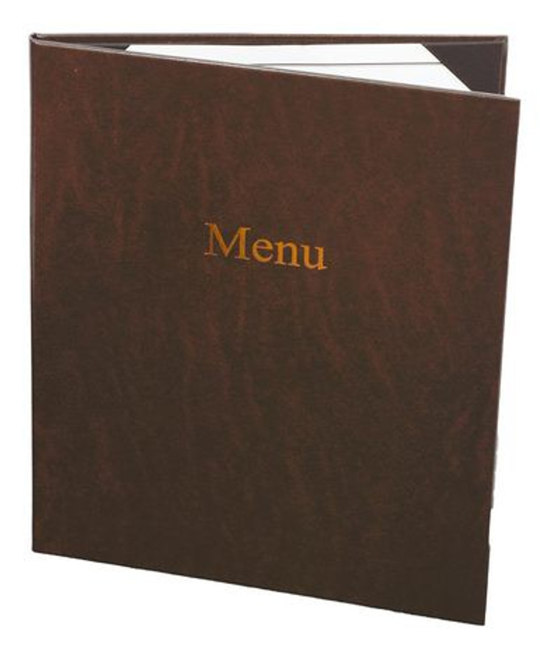 """(10pk) Menu Covers, 2-panel, 8.5"""" x 11"""" insert, Brown Leather"""