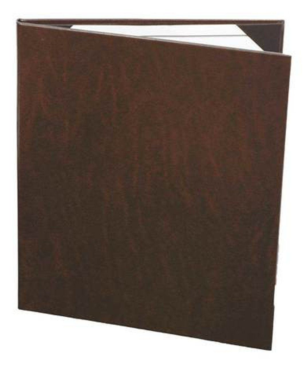 """(10pk) Menu Covers, 2 panel, 8.5"""" x 11"""", Brown Bonded Leather"""