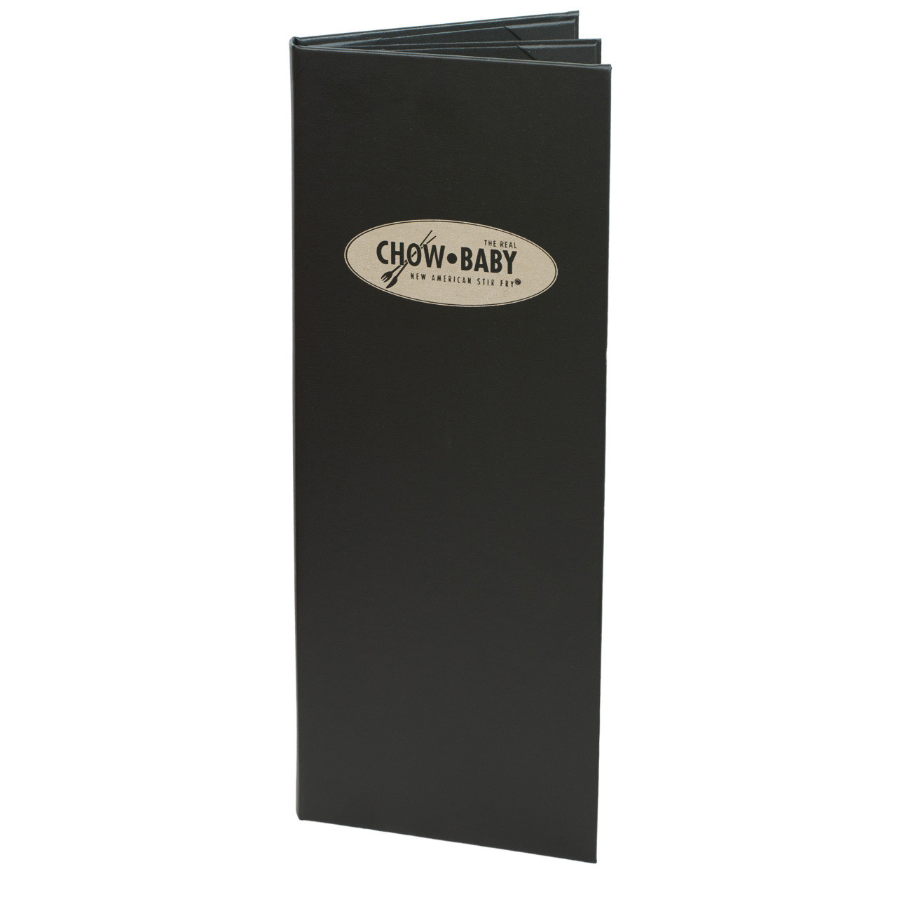 """4 1/4"""" x 14"""" Insert Menu Cover 2-panel, 6-view chocolate. Produced for Chow Baby"""