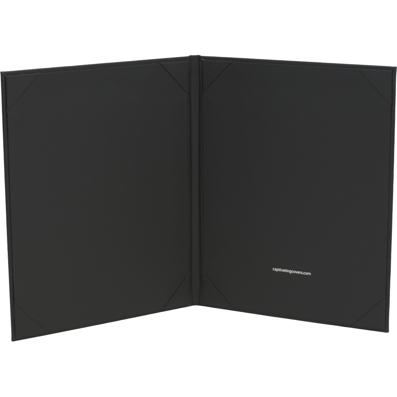 Black Imitation Leather Menu Cover, 8.5 in. x 11 in. Insert, 2-Panels (inside view)