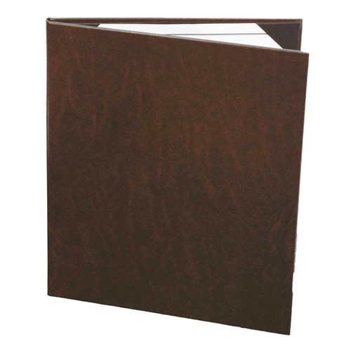 "8 1/2"" x 11"" Insert, 2-Panel Menu Cover with Real Bonded Leather Wrap Dark Brown"
