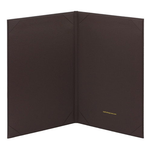 Dark Brown (Chocolate) Menu Cover with 8.5 in. x 14 in. Insert, 2-Panels (inside view)