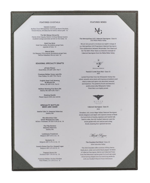 "8 1/2"" x 11"" Insert, 1-Panel Menu Holder with Menu Sheet (not included) Gray (inside)"