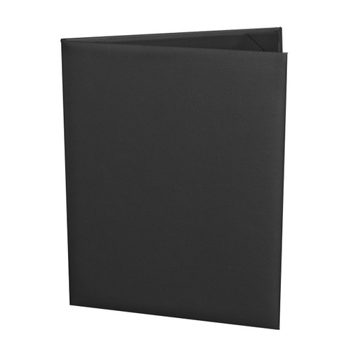Black Imitation Leather Menu Cover, 8.5 in. x 11 in. Insert, 2-Panels (outside view)