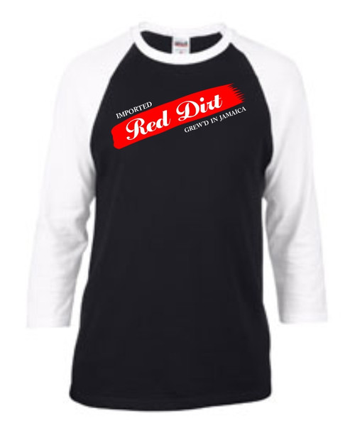 BlackCotton - Red Dirt Premier Raglan Mens Tee WHT-BLK