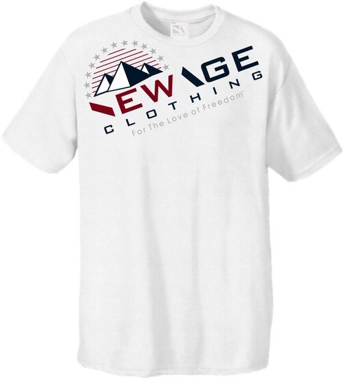 New Age Clothing - TriPy Love of Freedom White Red-Navy-Grey Softstyle Tees