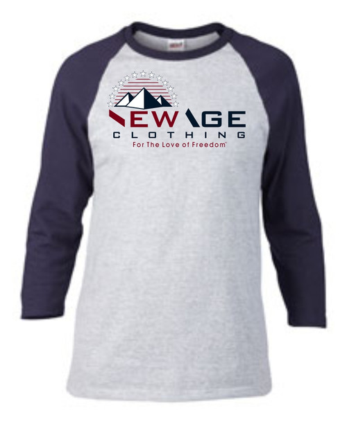 New Age Clothing | TriPy Love of Freedom Heather Grey-Navy Red-Navy-White Raglan