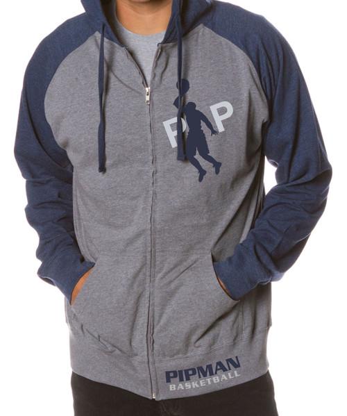 Pipman BBall Men's Raglan Jersey Zip Hooded  Sweatshirt Navy/Gray
