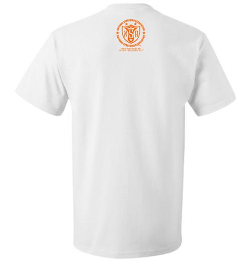 "NSA Sportswear | Feel The Teal White Mens Tee | Teal & Orange | Back   White Tee with Screenprinted 11"" Feel the Teal Logo - Center Chest - Teal & Orange Soft Plastisol Ink"