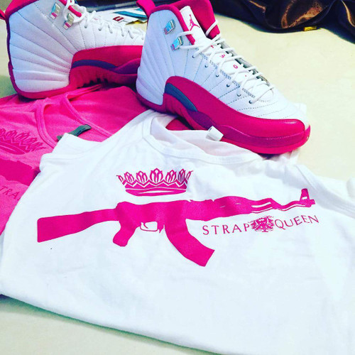 Mginati Brand | Strap Queen Special Edition White&Pink Tee