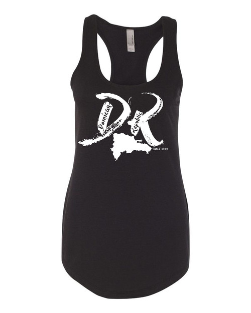 "Hispaniola Port & Trade Company | DR ""Since 1844"" Black Ladies Premium Fitted French Terry Racerback Slub Tank"