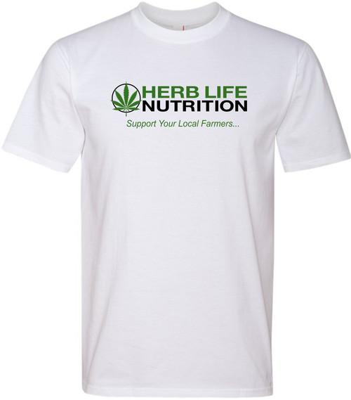 "GreeTees | ""Herb Life"" White Premium Fit Crew"