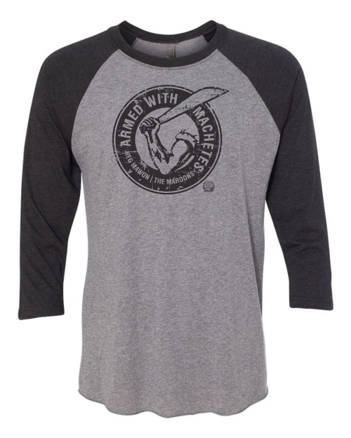 Hispaniola Port & Trade Company AWM Since 1804 Triblend Raglan Vin Grey Black