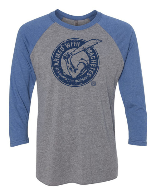 Hispaniola Port & Trade Company AWM Since 1804 Triblend Raglan Vin Grey Blue