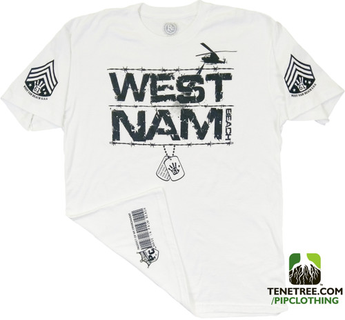 "Pipclothing - Rep Ur Hood ""West Nam"" White Premium Crew"