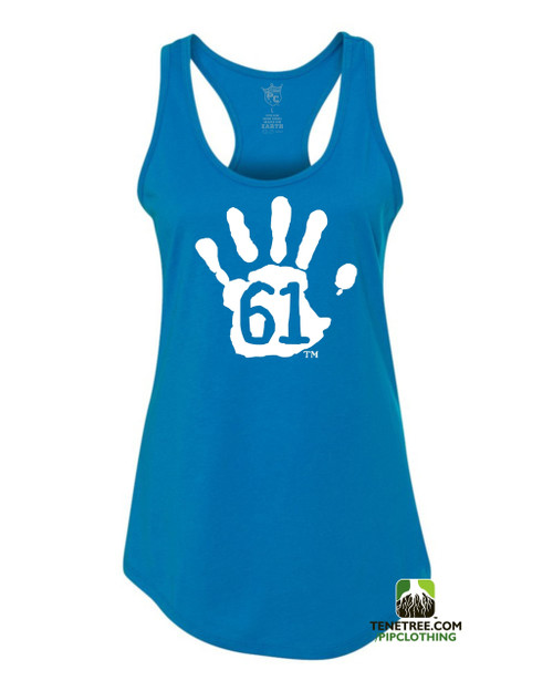 PC RUH Hand61 Ladies Turquoise Scalloped Racerback Tank