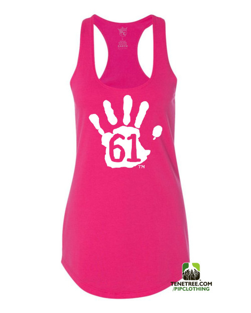 PC RUH Hand61 Ladies Hot Pink Scalloped Racerback Tank