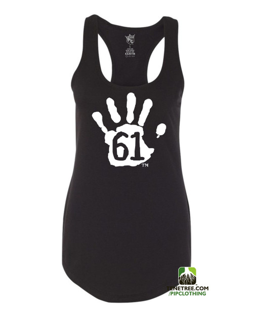 PC RUH Hand61 Ladies Black Scalloped Racerback Tank